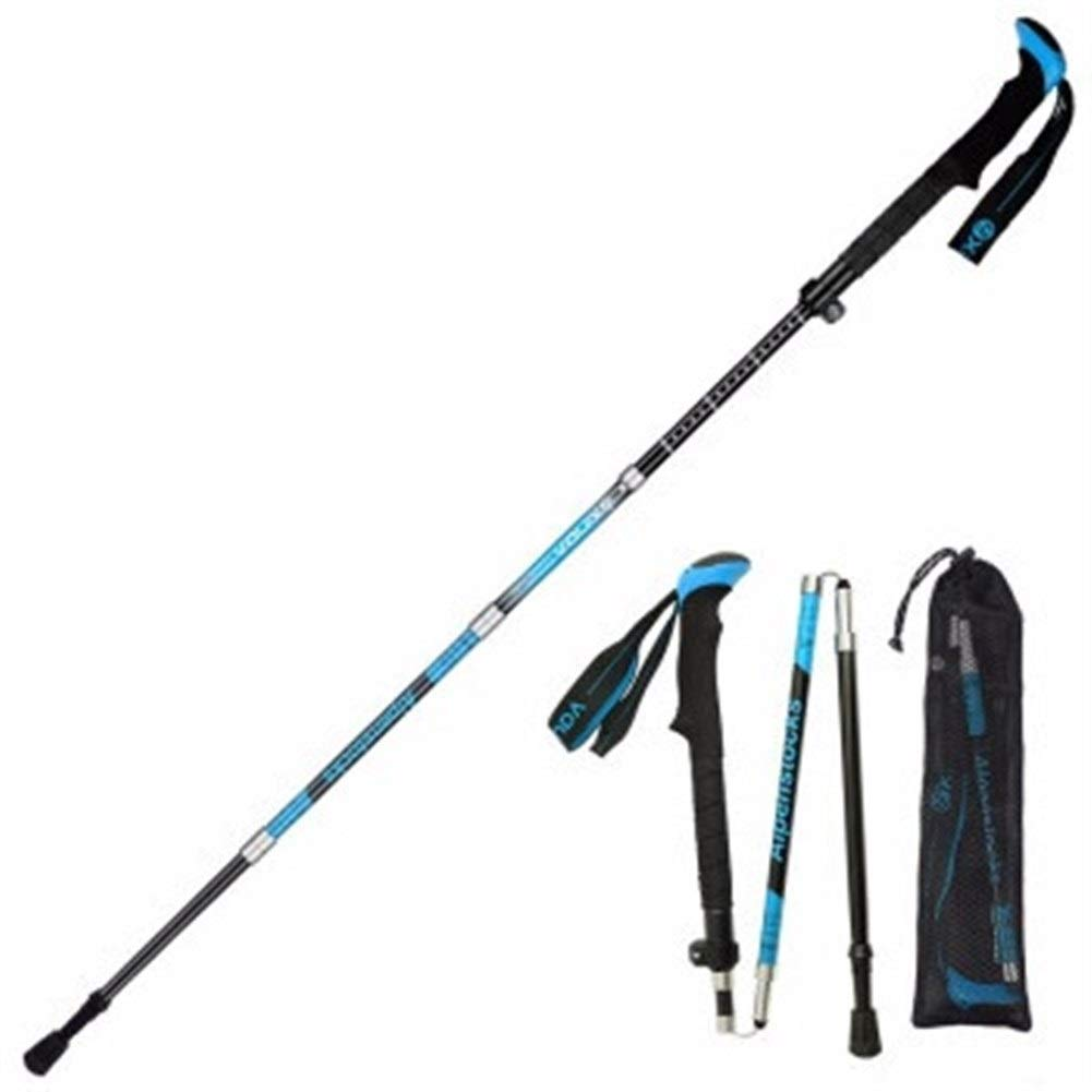 Walled King Trekking Poles Collapsible ,Hiking Poles - 99% Carbon Fiber Trekking Sticks,Off-Road,Adjustble Lock, Telescopic, Collapsible. (Color : BLUE98-115CM) by Walled King