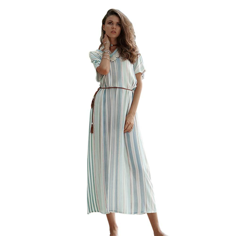MEMIND 2019 Female Spring Dress Dress Stripe Tassel V-Neck Short Sleeve Robe Long Skirt Bohemia Beach Holiday Skirt Sun Protection Skirt,XL