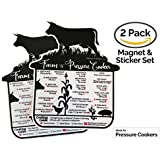 The Pressure People | Instant Pot Cooking Quick Reference Guide & Cheat Sheet Magnet Set | Instapot Accessories (Farm to Pressure Cooker)