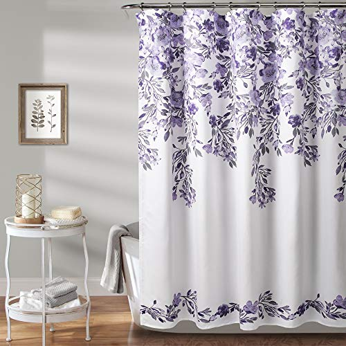 (MISC Bold Floral Shower Curtain, Lavender Purple Flower Vine Design Fabric Bathtub Curtain Grey Accents, Beautiful Damask Flowing Flowers Cloth Shower Drape Farmhouse Shabby Chic, 72