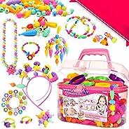 FunzBo Snap Pop Beads for Girls Toys - Kids Jewelry Making Kit Pop-Bead Art and Craft Kits DIY Bracelets Neckl
