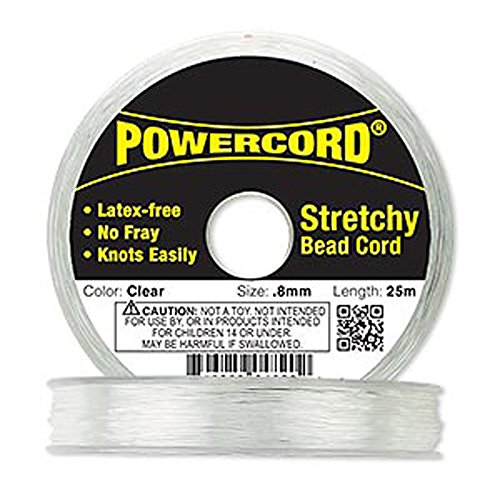 Knot Stretch Cord (Powercord® Elastic Clear 0.8mm. 0.0314 inch 25-meter spool.)