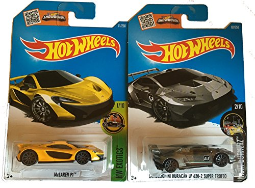 Hot Wheels 2016 McLaren P1 Yellow & Lamborghini Huracan LP 620-2 Super Trefeo 2-Car Bundle - Super Cars Muscle