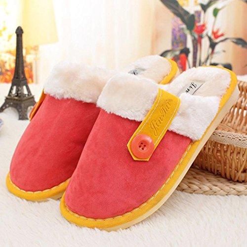 Elevin (tm) Dames Voor Dames Combineren Zachte, Warme Katoenen Slippers Binnenshuis Met Antislip-schoenen Rood