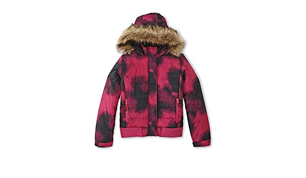 174965035e55 Amazon.com  Athletech Girls Smudge Print Puffer Coat w. Faux Fur ...