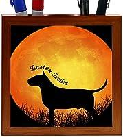 Rikki Knight Boston Terrier Dog Silhouette by Moon Design 5-Inch Wooden Tile Pen Holder (RK-PH8460)