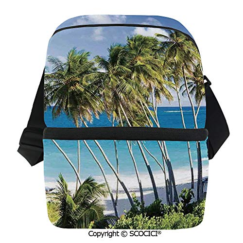 SCOCICI Thermal Insulation Bag Caribbean Island Overlook with Palm Tree and Ocean Exotic Destination Print Lunch Bag Organizer for Women Men Girls Work School Office Outdoor