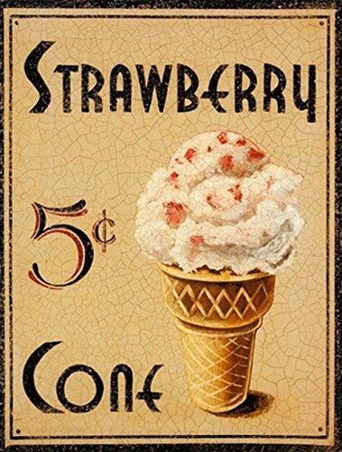 Barnyard Designs 5 Cent Strawberry Ice Cream Cone Retro Vintage Tin Bar Sign Country Home Decor 10