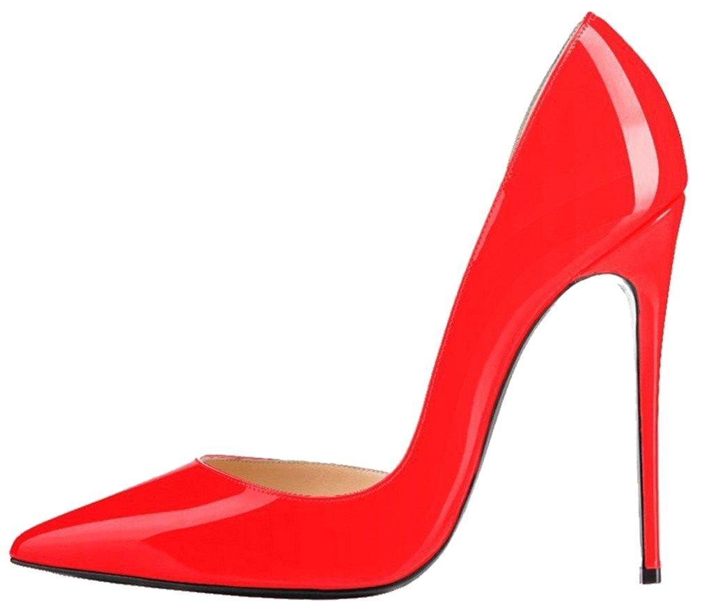 Calaier Mujer Catea Tacón De Aguja 12CM Sintético Ponerse Zapatos de Tacón 44.5|Naranja