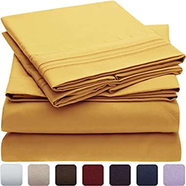 Mellanni Bed Sheet Set - HIGHEST QUALITY Brushed Microfiber 1800 Bedding - Wrinkle, Fade, Stain Resistant - Hypoallergenic - 4 Piece (Queen, Yellow)