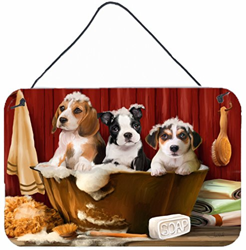 Caroline's Treasures PTW2047DS812 Beagle Boston Terrier and Jack Russell in the Tub Wall or Door Hanging Prints, 8 x 12