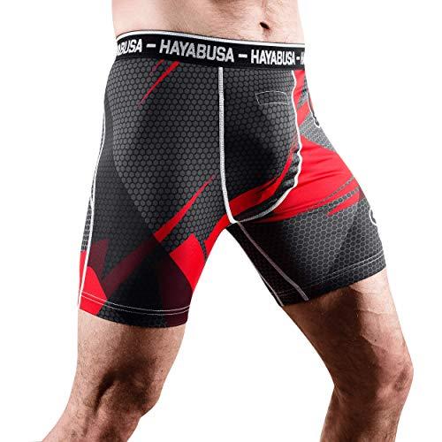 Hayabusa Metaru 47 Silver Compression Shorts, Black/Red, X-Large