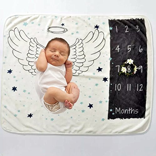 Amazon Com Baby Monthly Milestone Blanket Photo Prop Baby Shower Gifts Ideas Angel Wings And Stars Baby