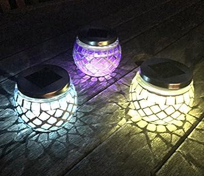 Super Bright Solar Mosaic Glass Ball Lanterns-Set of 3