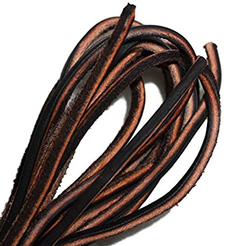 Leather Boot Laces Logger Style -Easy Sizing Just Cut to Fit. 108 Inches long Shoelaces By TOFL - Leather Ankle Boot Lace