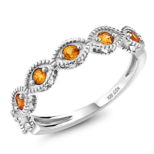 (Gem Stone King Beautiful Yellow Sapphire 925 Sterling Silver Ladies Anniversary Wedding Band Ring (Size 7))