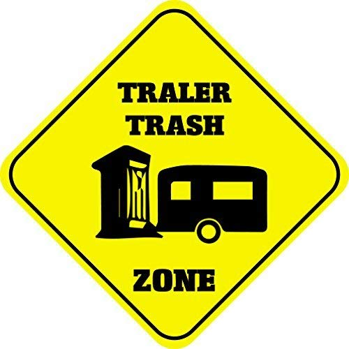 Liz66Ward Trailer Trash Zone Aluminum Corssing Sign Caution Signs Funny Metal Animal Crossing Wall Art Decor 12x12 Novelty Gifts Sign -