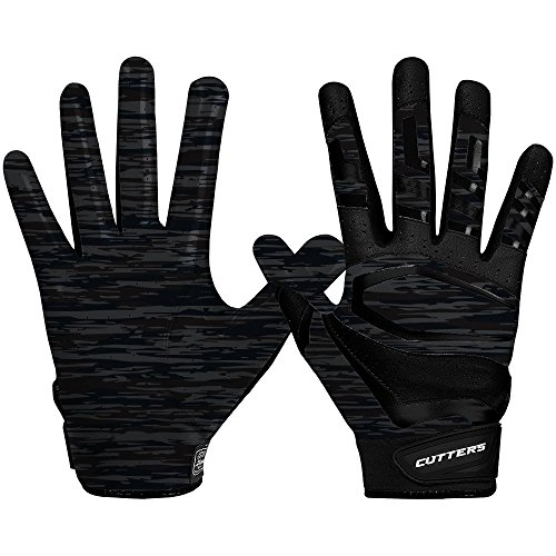 Cutters Mens Football Receiver Glove - Cutters Gloves Rev Pro 3.0 Receiver Phantom Gloves, Black Camo, X-Large