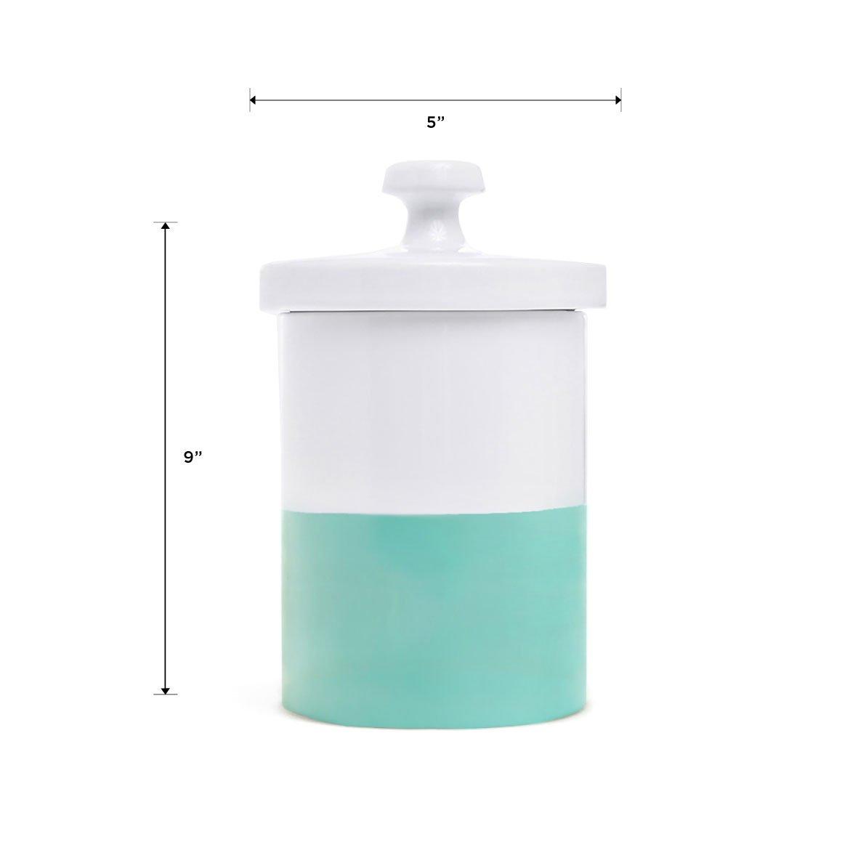 Waggo Dipper Ceramic Dog Treat Jar Mint Green/White Heavyweight Durable Designer Dog Treat And Cookie Jar