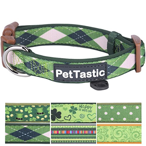 Best Adjustable Medium Dog Collar - PetTastic Durable Soft & Heavy Duty with Cute Patrick's Green Design, Outdoor & Indoor use Comfort Dog Collar for girls, boys, puppy, adults, including - Green Show Dog Collar