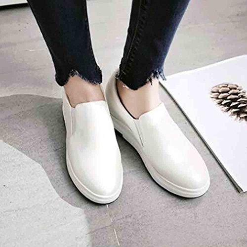 Sneakers Con Zeppa Con Plateau Nascoste A Piattaforma Bassa Altezza Media Donna Easemax Elastico Bianco