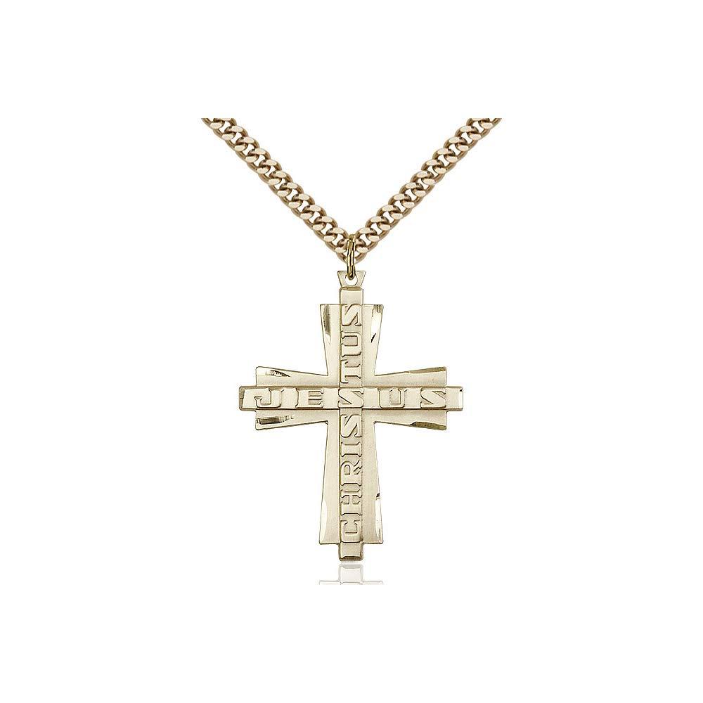 DiamondJewelryNY 14kt Gold Filled Jesus Christus Cross Pendant