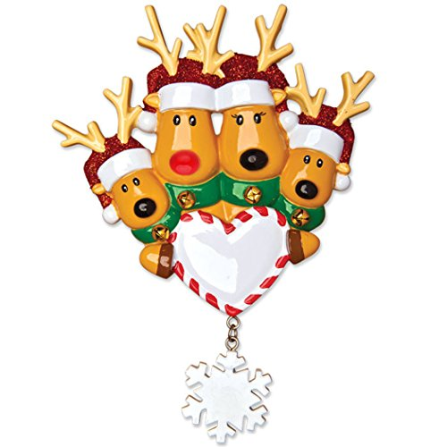 (Personalized Reindeer Family of 4 Christmas Tree Ornament 2019 - Mother Father Child Deer Santa Hat Hold Heart Snowflake Tradition Kid Nose Foster Gift Friend Forever Year - Free Customization)