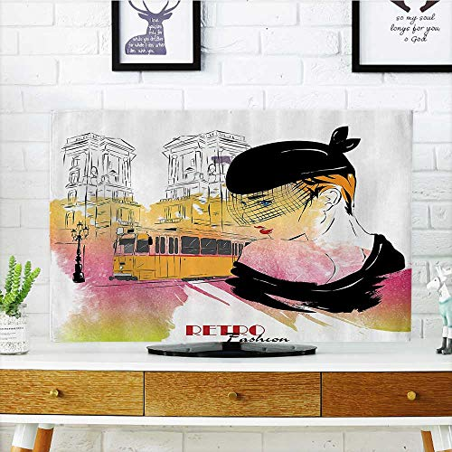 tv dust Cover Lady Posing in frt of Tramway Sketch Retro Romance Aesthetics Bathroom Dust Resistant Television Protector W35 x H55 INCH/TV 60