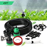 SIMERST 49FT/15m Home Garden Patio Misting Micro Flow Drip Irrigation Misting Cooling System with 10pcs Plastic Mist Nozzle Sprinkler for Plant Flower