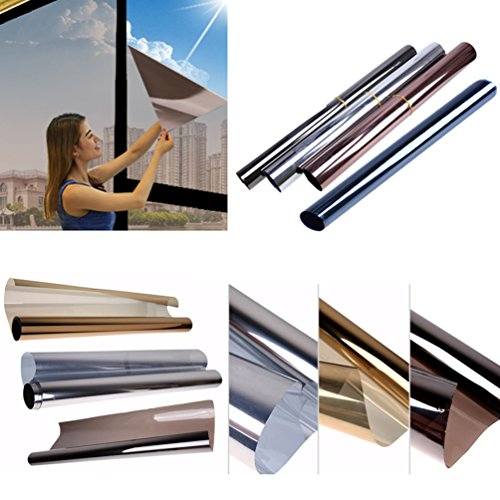 Solar Reflective Window Tint Mirror Privacy Window Film Glass Sticker for Home, Office (3, Grey + Silver) Mirror Privacy Window Film