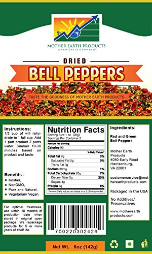 Mother Earth Products Dehydrated Bell Peppers (2 Cup Mylar)