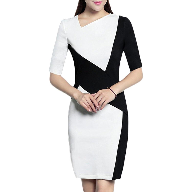 Pendler elegantes Kleid schwarzes und weißes Nähkleid professionelles Paket Hüftkleid - schwarz und weiß l black and white