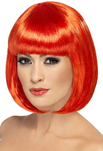 Halloween Wigs - Smiffy's Women's Short 12inch Red Bob with Bangs, One Size, Partyrama Wig, 5020570423905