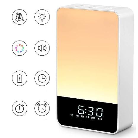 Wake Up Light Lámpara Despertador Luz Nocturna Reloj Digital Regulable Control Táctil LED Mesilla Lámpara Escritorio