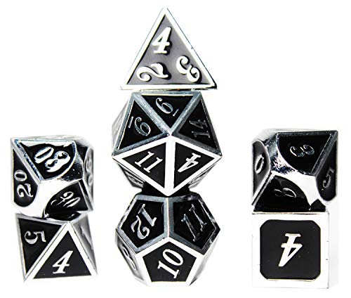 Black Shiny Zinc Alloy Metal Dices Set 0-9 20 White Silver Number for Role Playing Gaming Specialty with Case, Standard Polyhedral D4 D6 D10 D12 & D20 Sided 7 Die Weighted rpg Dice Sets Gifts 10 12 D