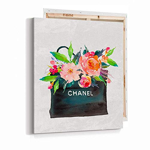 """Pop Art Fashion Glam Wall Art Poster Print - Gift Bag with Flowers Watercolor - Printed on Fine Art Canvas- 16""""x20"""" 1072"""