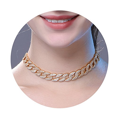 Crystal Cuban Link Choker Necklace For Women/Girls,Gold Plated Pave Setting Adjustable Infinity CZ Bolo Collar Necklace
