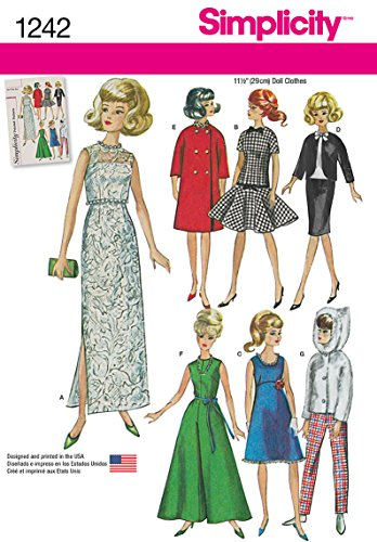 Simplicity Creative Patterns 1242 Vintage Doll Clothes for 11 1/2-Inch Doll, Size: Os One Size 60s Sewing Patterns