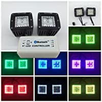 "Vivid Light Bars 3"" 20W RGBW Halo LED Pods Cubes Bluetooth App Remote Control Flood Spot Beam Off Road LED Lights for Trucks SUV ATV 1 Year Warranty"