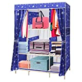 NEX Wardrobe Collapsible with Wooden Rack Armoire Removable Commode for Home Use Storage Closet(Blue+Star)