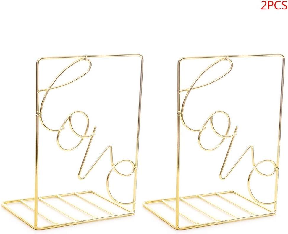 Lot de 2 serre-livres cr/éatifs en m/étal en forme damour dor/é
