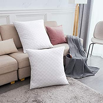 PHF Cotton Matelasse Weave Euro Sham Cover for Winter Pack of 2 26