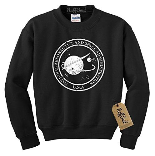 NuffSaid Vintage NASA Aeronautics Seal Crewneck Sweatshirt Sweater Pullover - Unisex Crew (Medium, Black w/White Ink) (Vintage Pullover)