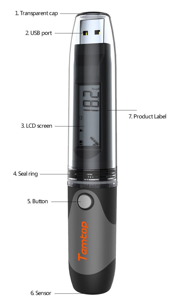 temlog20h PDF impermeable USB Temperatura y Humedad Termómetro registrador de datos sin necesidad de software: Amazon.es: Industria, empresas y ciencia