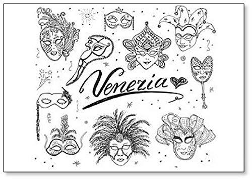 Venice Italy Sketch Carnival Venetian Masks Classic Fridge Magnet ()