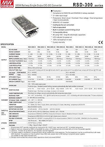 Rsd-300C-12 DC//DC Power Supply Single-OUT 12V 25A 300W 5-Pin