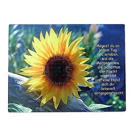 Wanddeko Spruchtafel Keramik Bildtafel Sonnenblume Mit