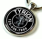 Game of Thrones Black Tyrion Lannister Silver Lion 2 Custom ID pet tag dog tag cat tag (Large 1.5'')