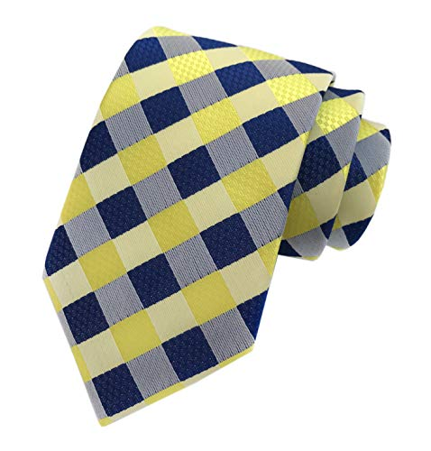 Mens Navy Blue Yellow Fashion Style Designer Inspired Tie Pretty Birthday Gifts (Blue Shirt Yellow Tie)