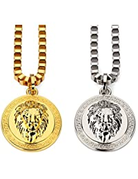 Tidoo Jewelry Men's Lion Head Pendant Necklace with FREE...